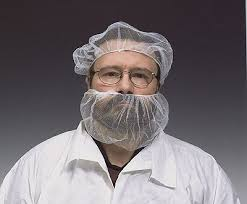 beard nets though it s to wear a beard net and not a smile this worker