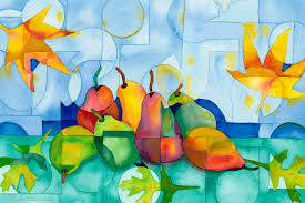 modern kitchen art paintings original watercolor painting pears and fall leaves stained