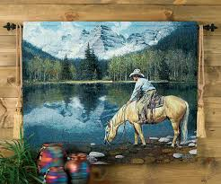 Wall Rugs Hanging Colorado Cowboy Tapestry Wall Hanging
