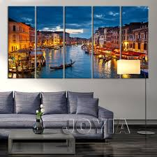 aliexpress com buy 5 panel large city wall art canvas print aliexpress com buy 5 panel large city wall art canvas print venice canal and gondolas wall pictures for living room decoration light night no frame from