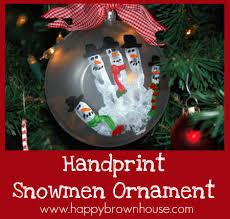 handprint snowmen ornament happy brown house