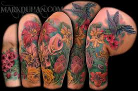 floral sleeve tattoos for flower half sleeve by amduhan
