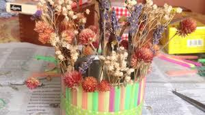 make a pretty dried flower vase decoration diy home