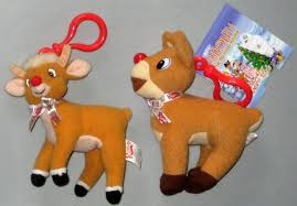rudolph red nosed reindeer plush clip keychain lot 2