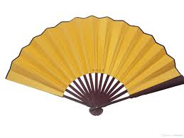 decorative fans large blank yellow silk foldable party favor gifts fans diy