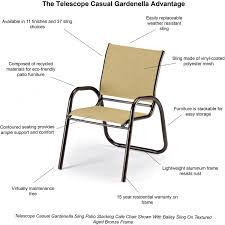 Stackable Mesh Patio Chairs by Gardenella Aluminum Stacking Patio Cafe Chair With Sling Seating