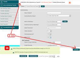 teks prosedur membuat rekening bank cara transfer ke virtual account bni memakai internet banking
