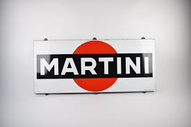 martini rossi logo martini enamel adverstising sign from the sixties nearly mint