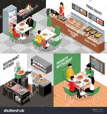 Kitchen Interiors Food Court Isometric Concept Various Restaurant Stock Vector