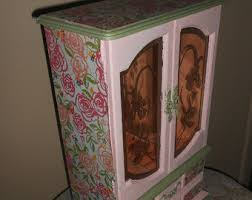 Shabby Chic Jewelry Armoire by Hand Painted Armoire Etsy