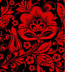hohloma seamless pattern floral russian ornament stock photo