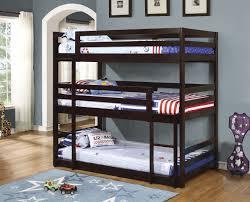 Triple Twin Bunk Bed In Cappuccino Finish Bunk Bed Triple Bunk - Triple lindy bunk beds