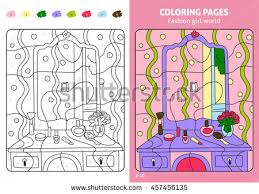 fashion coloring pages kids stock vector 474877642