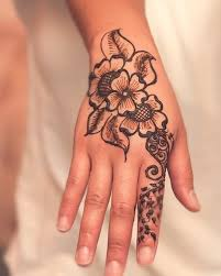 collection of 25 flowers henna tattoo design on hand
