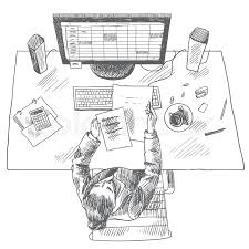 accountant work place tools with woman sitting on table top view