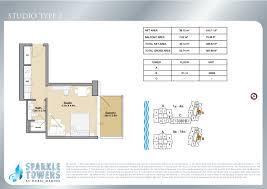 Floor Plan Studio Type Downloads For Sparkle Towers Dubai
