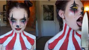 clown face halloween makeup tutorial melina snow youtube