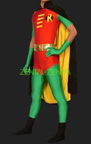 Red Robin Halloween Costume Robin Hood Red Green Lycra Unisex Robin Zentai Costumes
