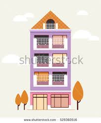 House Flat Design Building House Home Apartment Vector Illustration Stock Vector