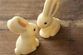 white chocolate bunny slanted view of two white chocolate bunnies creative commons stock