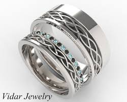 black diamond aquamarine wedding band set his hers vidar
