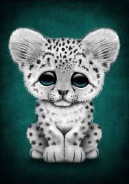 this cute design features a small leopard cub with large ears and