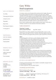 Hotel Resume Grand Sample Resume For Receptionist 11 Hotel Receptionist Cv
