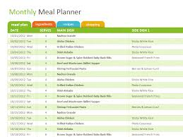 Meal Plan Excel Template Monthly Family Meal Planner Office Templates
