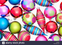 bright background of assorted ornaments with polka