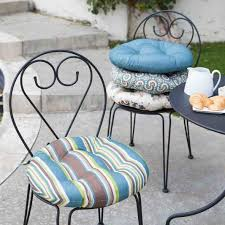 Black Rod Iron Patio Furniture Decor Unusual Patio Chair Cushions In Colorful Stripped Design