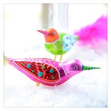 clip on bird glitterville vintage style glass