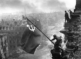 Russian Flag Black And White The Soviet Flag Over The Reichstag 1945