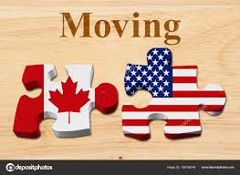 The Flag Of Usa Moving From Canada To The Usa U2014 Stock Photo Karenr 156156144