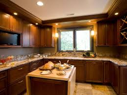 casual u shape kitchen decoration using rectangular cherry wood