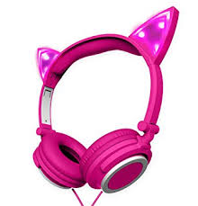light up cat headphones amazon com polaroid php240pk cat headphones light up with pink led