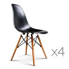 Set Of 4 Replica Eames Eiffel Dining Chairs Black Nextfurniture