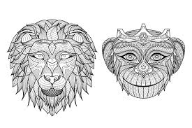 heads monkey lion animals coloring pages for adults justcolor