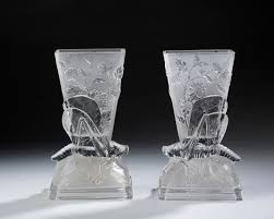 Opaque Vases Pair Of Baccarat Opaque And Colorless Glass U0027grasshopper U0027 Vases