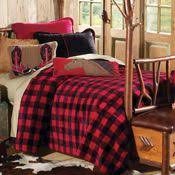 Red And Black Bathroom Accessories by Buffalo Check Bed Skirt In Black And Red Under A Cozy Quilt This