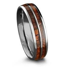 mens wood wedding bands 6mm tungsten carbide ring with a koa wood inlay northernroyal