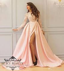 thigh high slits prom dresses long sleeves sheer illusion