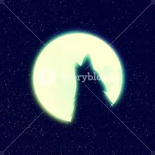 lone wolf howling at the moon against starry sky stylized