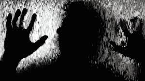 zombie shadow glass scary the silhouette of a zombie moving