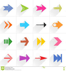 Pink Flat Color Color Arrow Icon Flat Sign With Long Shadow Stock Vector Image