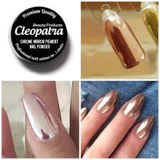 rose gold chrome mirror effect nail pigment powder trend nails