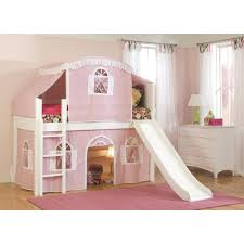 Bunk Bed With Slide And Tent Cottage White Low Loft Bed With Pink And White Top Tent