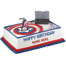 captain america cakes write name on birthday cake of captain america