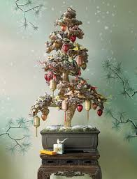 cool bonsai chrismas decoration in snowy themed ornament