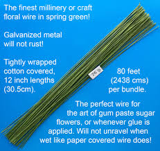floral wire 26 green cotton covered floral wire 80 per bundle