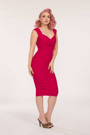hot pink dress pinup couture erin wiggle dress in hot pink vintage style